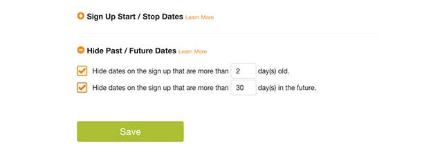 hide past future dates sign up selection