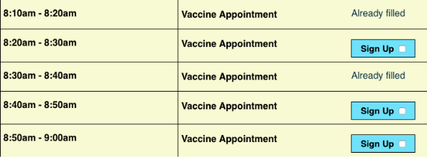 screenshot of vaccine appointment slots with names hidden