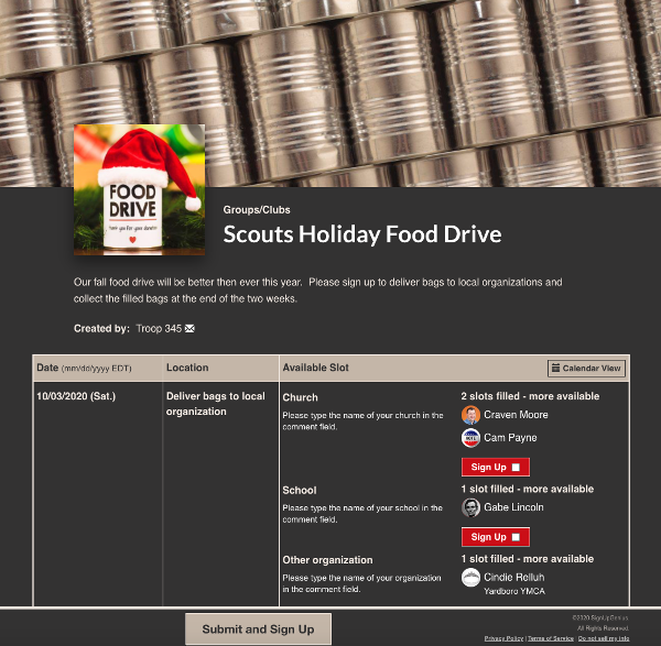 screenshot of food drive sign up with a food drive can wearing a Santa hat
