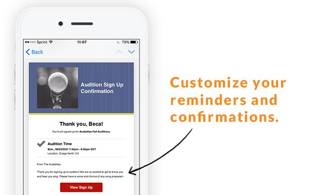 custom confirmations reminders notifications online sign ups sheets forms
