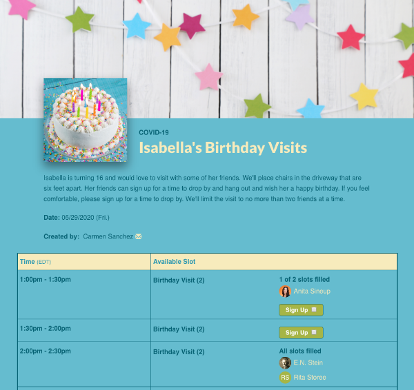 screenshot of sign up scheduling isabella's birthday visits
