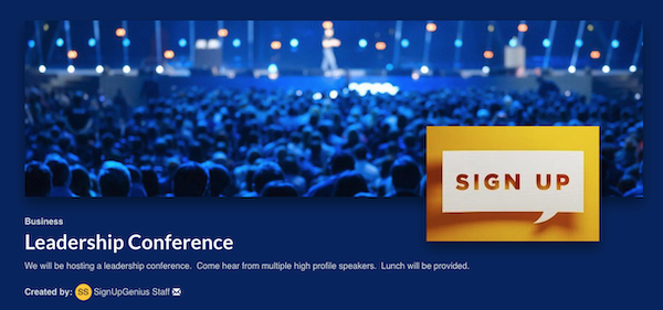 screenshot of the top of leadership conference sign up