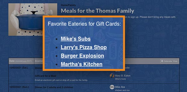 favorite eateries for gift cards list of links
