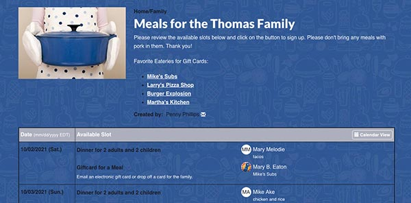meals for the thomas family full sign up