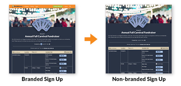 image showing sign up with signupgenius branding and without