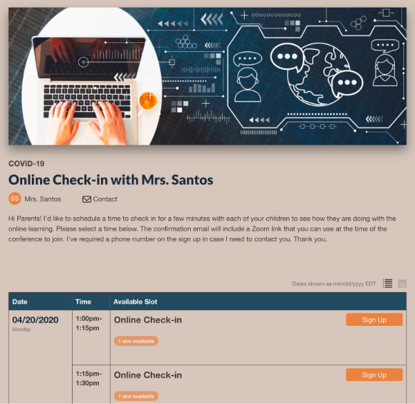 screenshot of online check in with teacher sign up
