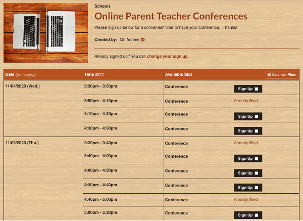 screenshot of sign up for online parent teacher conferences