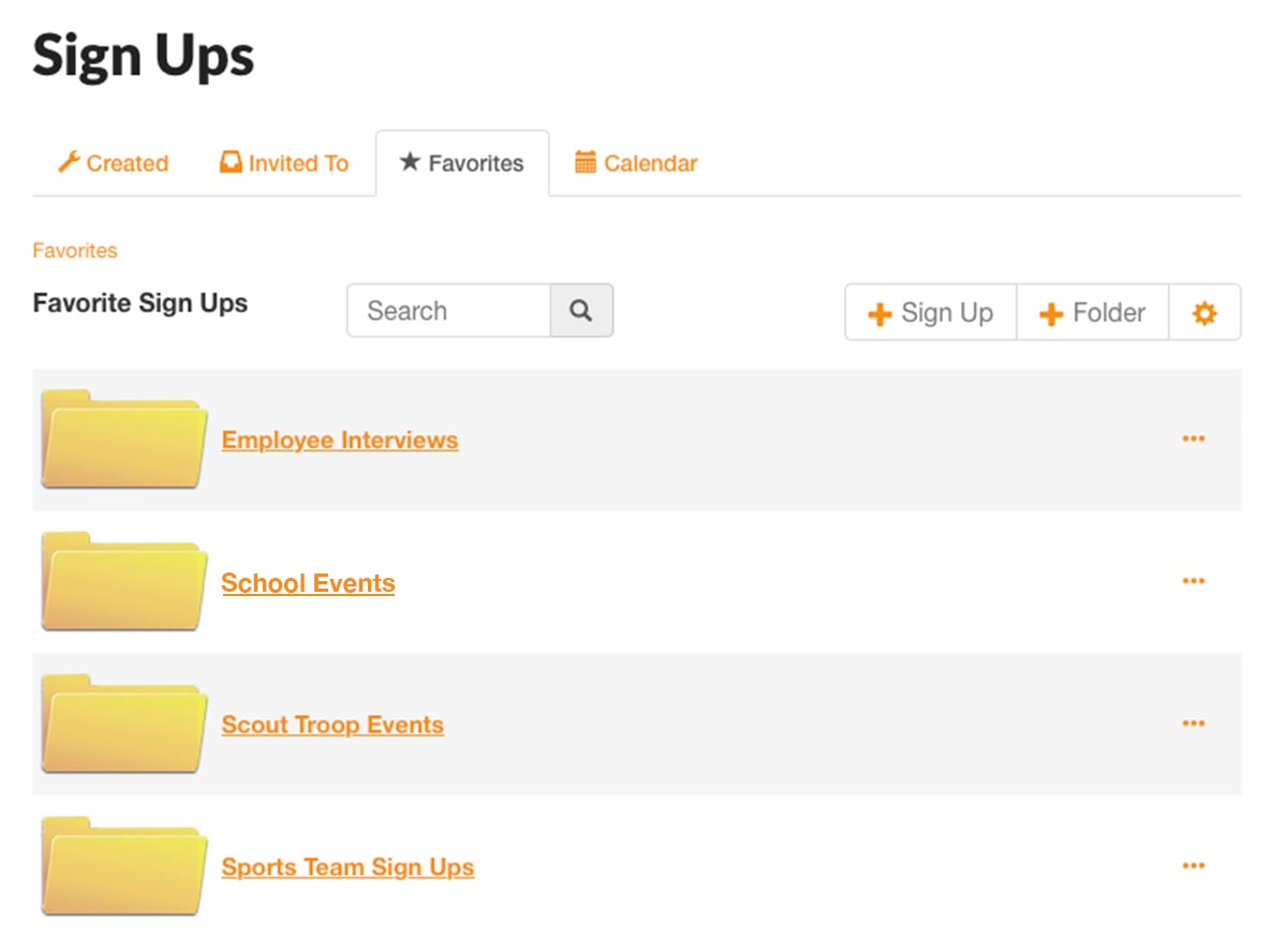 signupgenius sign ups organized favorites folders organizing planning tips features how to guide