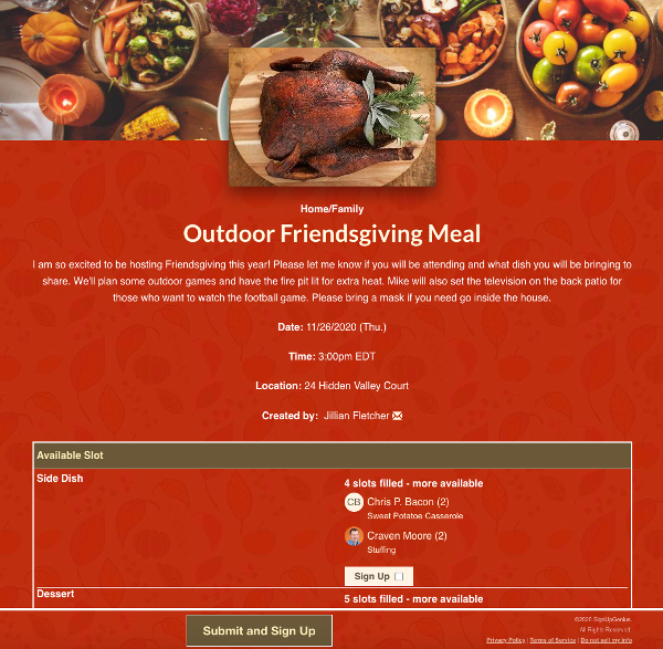 screenshot of friendsgiving sign up with images of roasted turkey and plates of side dishes