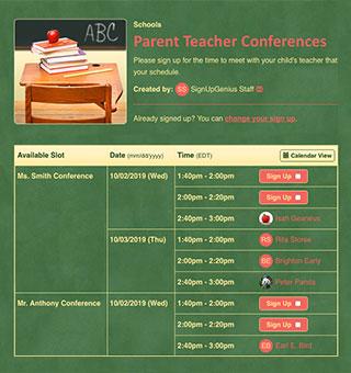 parent teacher conferences signups sign ups meetings school interviews progress report