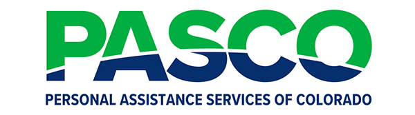 Graphic showing green and blue PASCO logo - Personal Assistance Services of Colorado