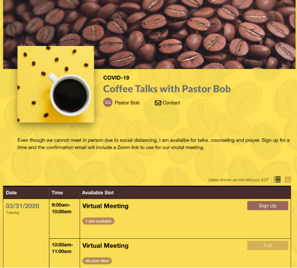 screenshot of sign up for pastor coffee talks