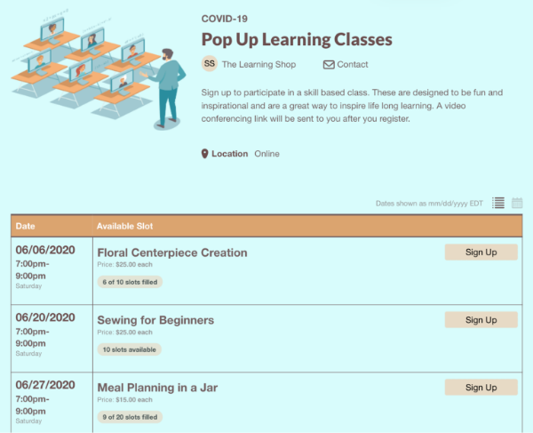 screenshot of pop up learning class sign ups