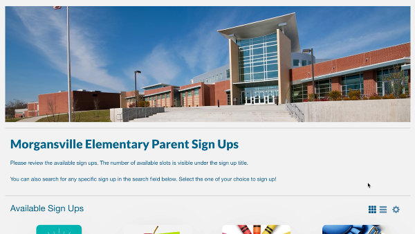 screenshot of portal page showing sign ups from an elementary school