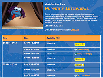 Puppetry Sign Up