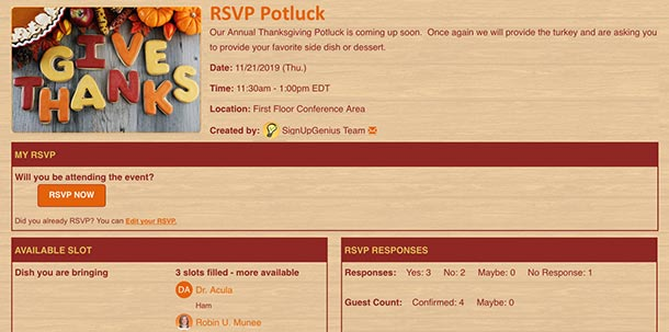 RSVP, event, online sign up, potluck, FAQs, how to, help, SignUpGenius, tips, ideas, hacks