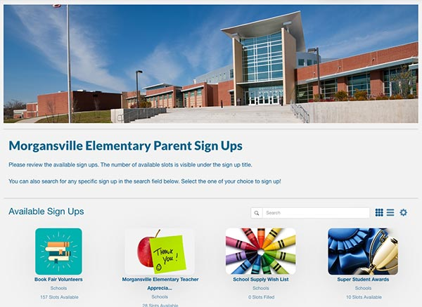 screenshot of sample elementary school portal page