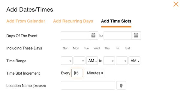 screenshots of sign up builder - add time slots