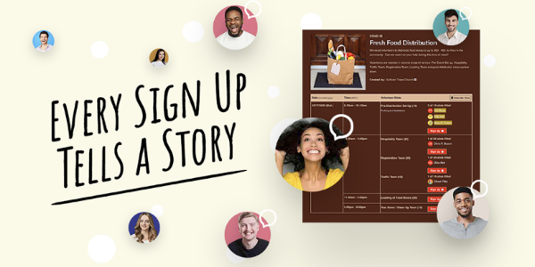 graphic of every sign up tells a story giveaway