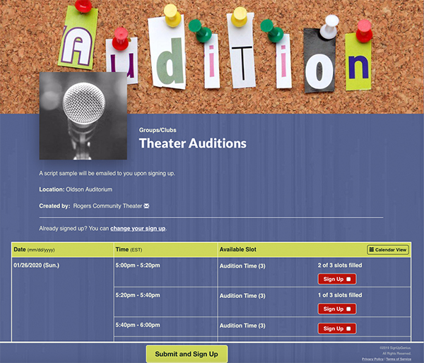 SignUpGenius sign up organizing Theater Auditions