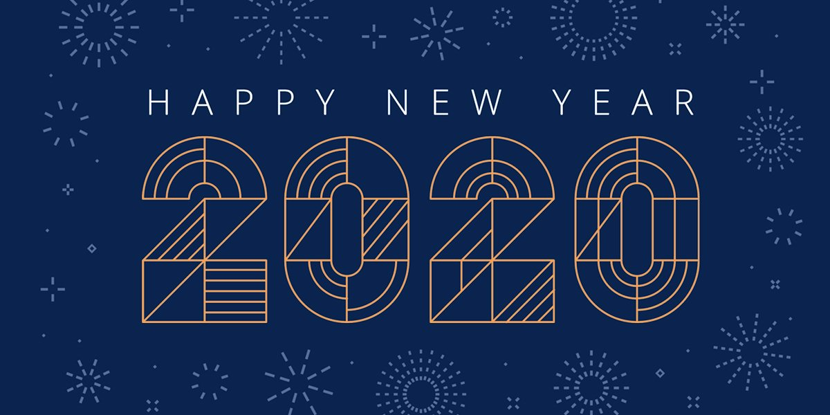 happy new year 2020 graphic with dark blue background and gold lettering