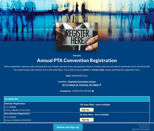 SignUpGenius sign up coordinating Annual PTA Convention Registration