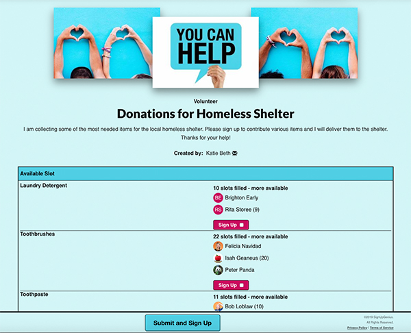 SignUpGenius sign up collecting Donations for Homeless Shelter