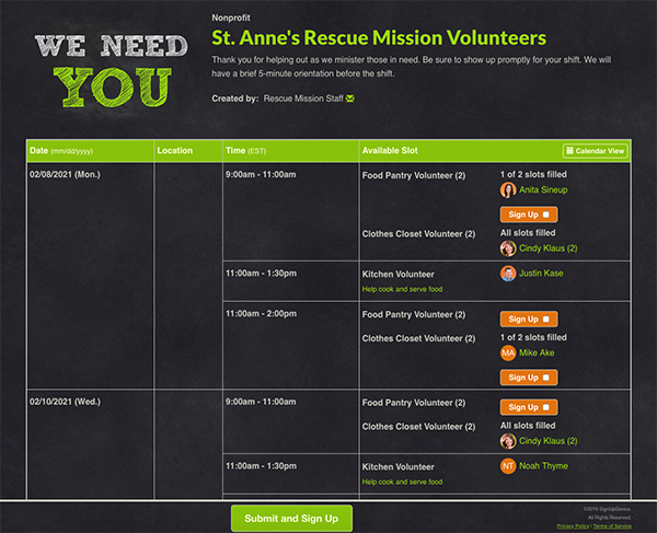 SignUpGenius sign up organizing St. Anne's Rescue Mission Volunteers