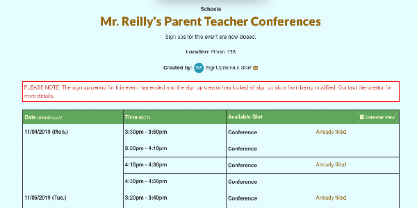 parent teacher conference sign up with closed dates