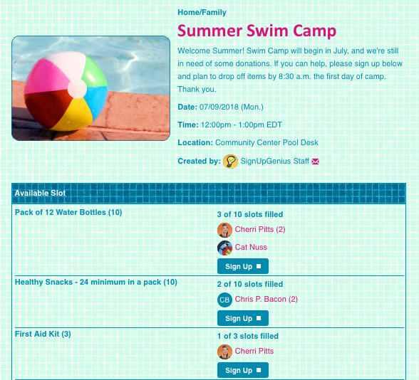 swim camp sign up