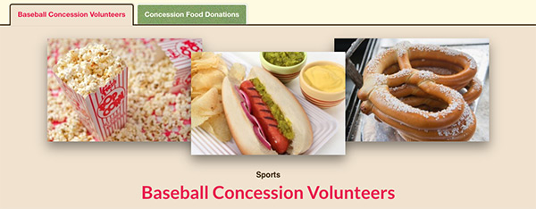 concession stand volunteers food donations tabbing