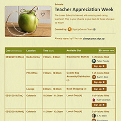 teacher appreciation gifts ideas tips sign ups online sheets organizing