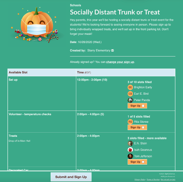 screenshot of trunk or treat sign up