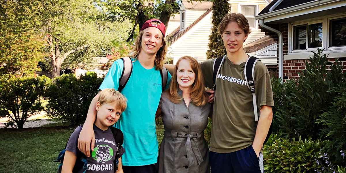 photo of Jennifer Folsom with her three sons