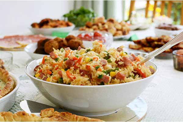 office potluck bowl of fried rice