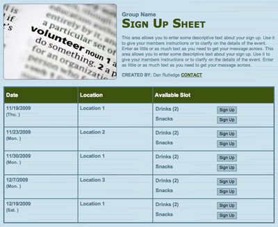Organize non-profit volunteers online with free sign up scheduling