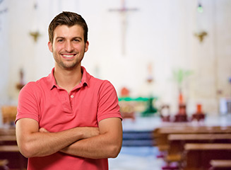 young pastor in church