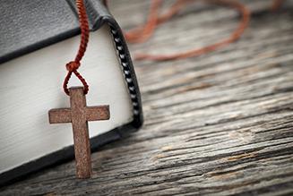 wooden cross bible