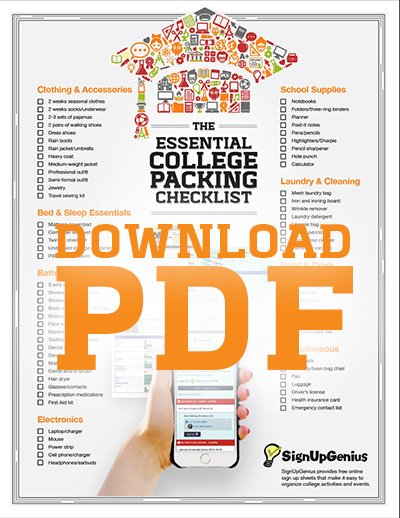 college, packing list, checklist, downloadable, printable, list, dorm room, dorm, essential, supplies