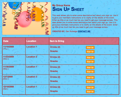 Birthday party celebration sign up sheet