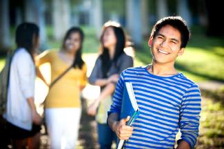college freshman on campus