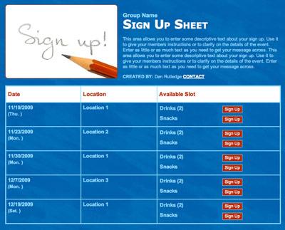Online volunteer sign up sheet form