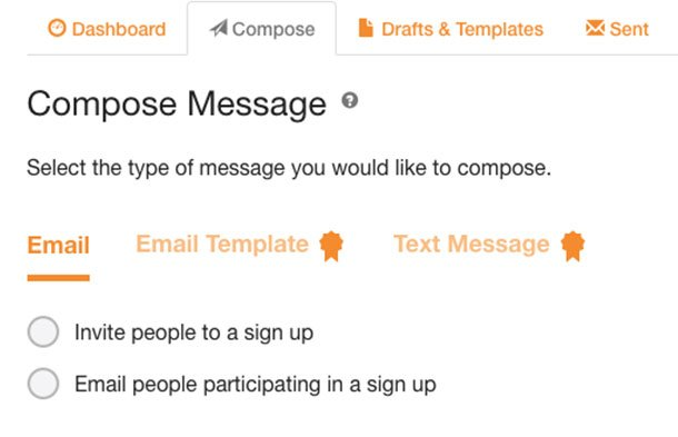 Compose message in signupgenius