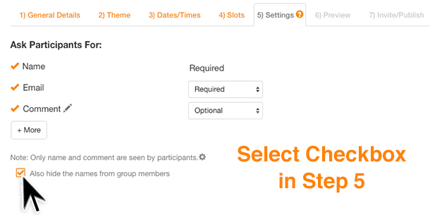 hide names tool in sign up genius