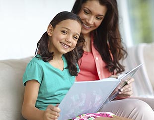 mom and child reading fun