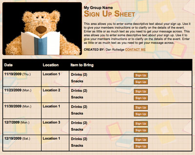 Book club or school reading volunteer scheduling online