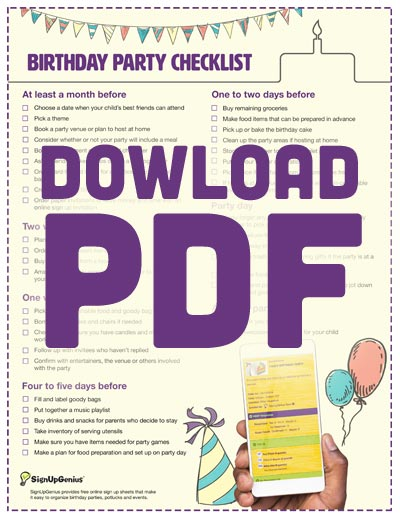 Birthday Party Planning Checklist Downloadable Printable
