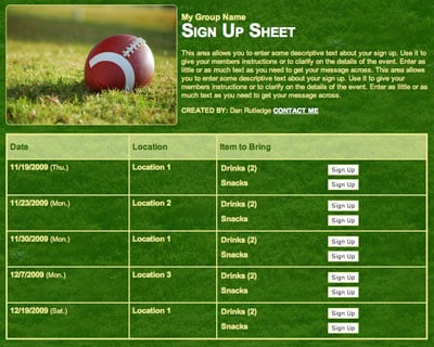 Football or Superbowl potluck sign up sheet