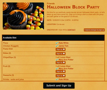 Halloween Sign Up