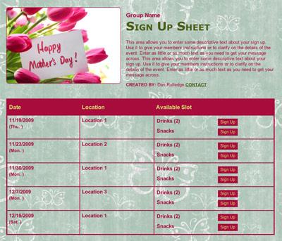 Mother's Day volunteer celebration sign up